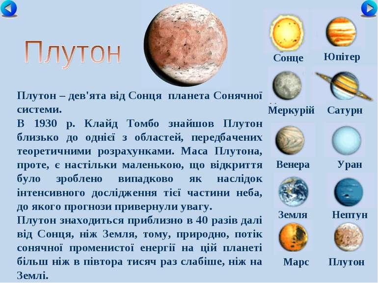Сонце Меркурій Сатурн Венера Уран Земля Нептун Юпітер Марс Плутон Плутон – де...