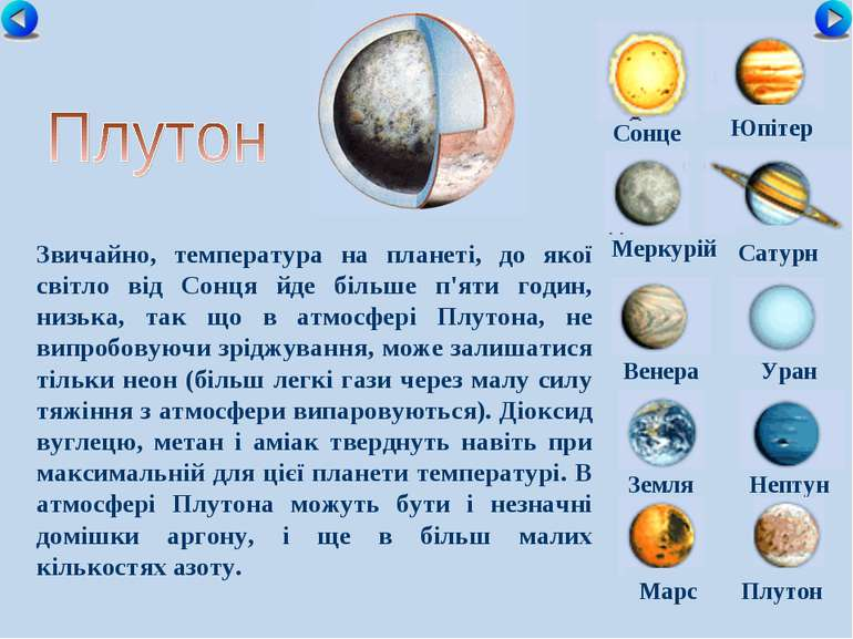 Сонце Меркурій Сатурн Венера Уран Земля Нептун Юпітер Марс Плутон Звичайно, т...