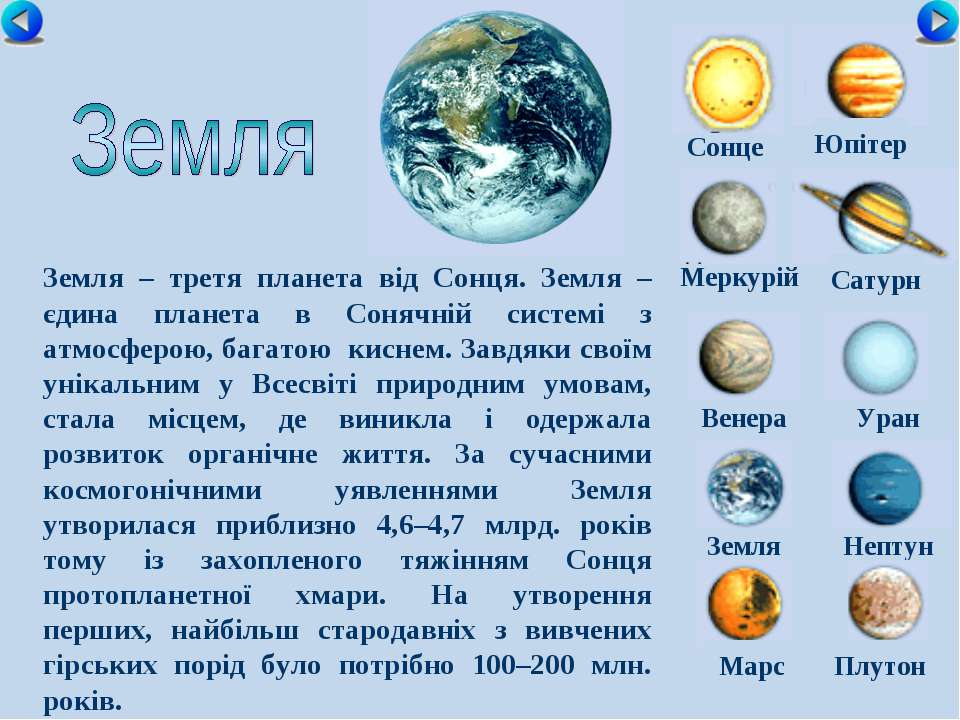 Сонце Меркурій Сатурн Венера Уран Земля Нептун Юпітер Марс Плутон Земля – тре...