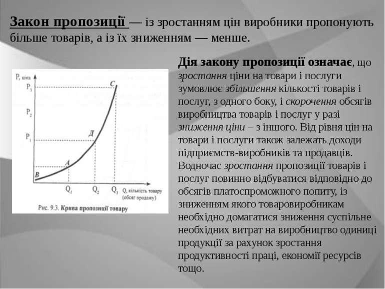 Закон пропозиції — із зростанням цін виробники пропонують більше товарів, а і...