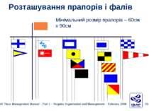 Розташування прапорів і фалів Мінімальний розмір прапорів – 60cм x 90cм ISAF ...