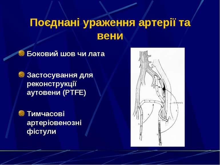 Поєднані ураження артерії та вени Боковий шов чи лата Застосування для реконс...