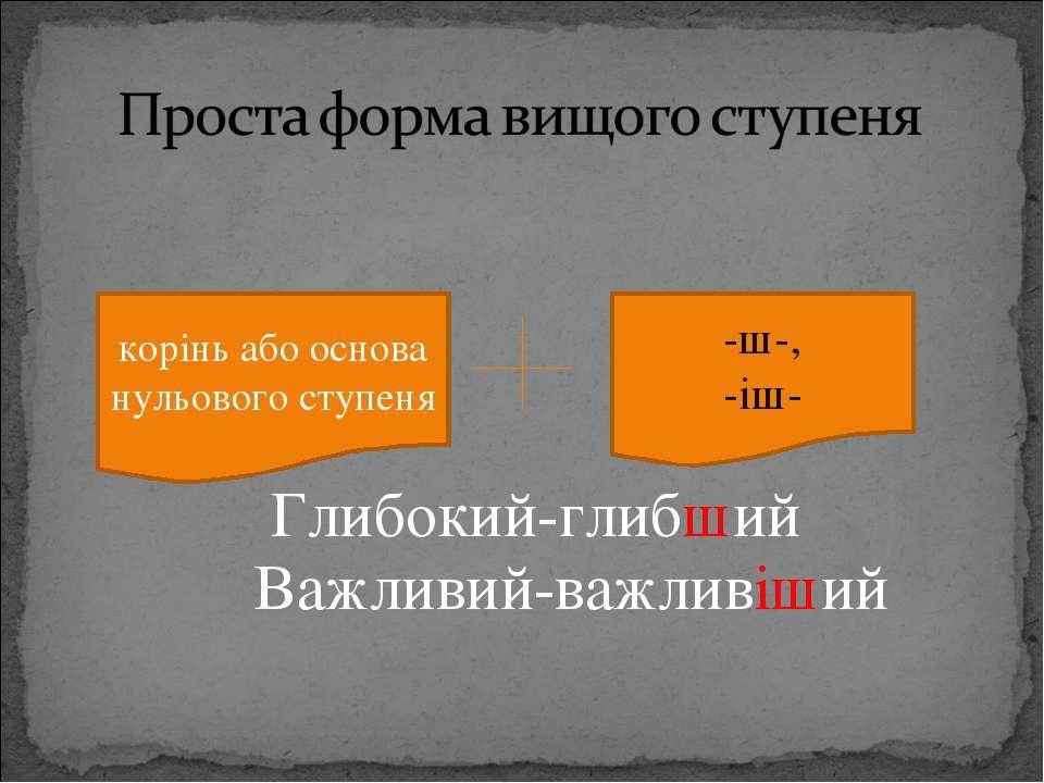 Глибокий-глибший Важливий-важливіший корінь або основа нульового ступеня -ш-,...
