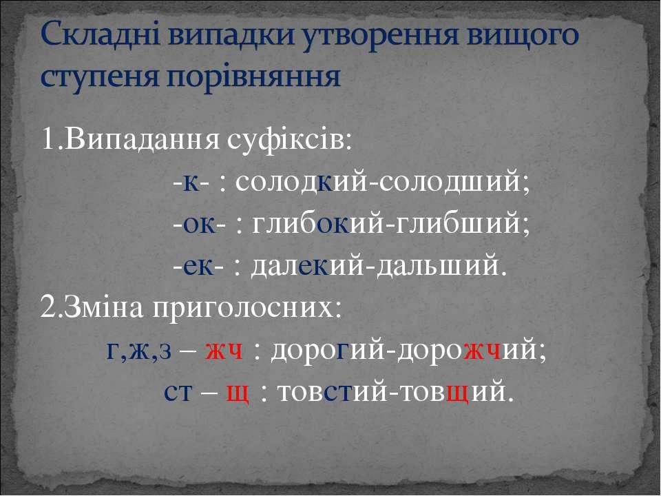 1.Випадання суфіксів: -к- : солодкий-солодший; -ок- : глибокий-глибший; -ек- ...