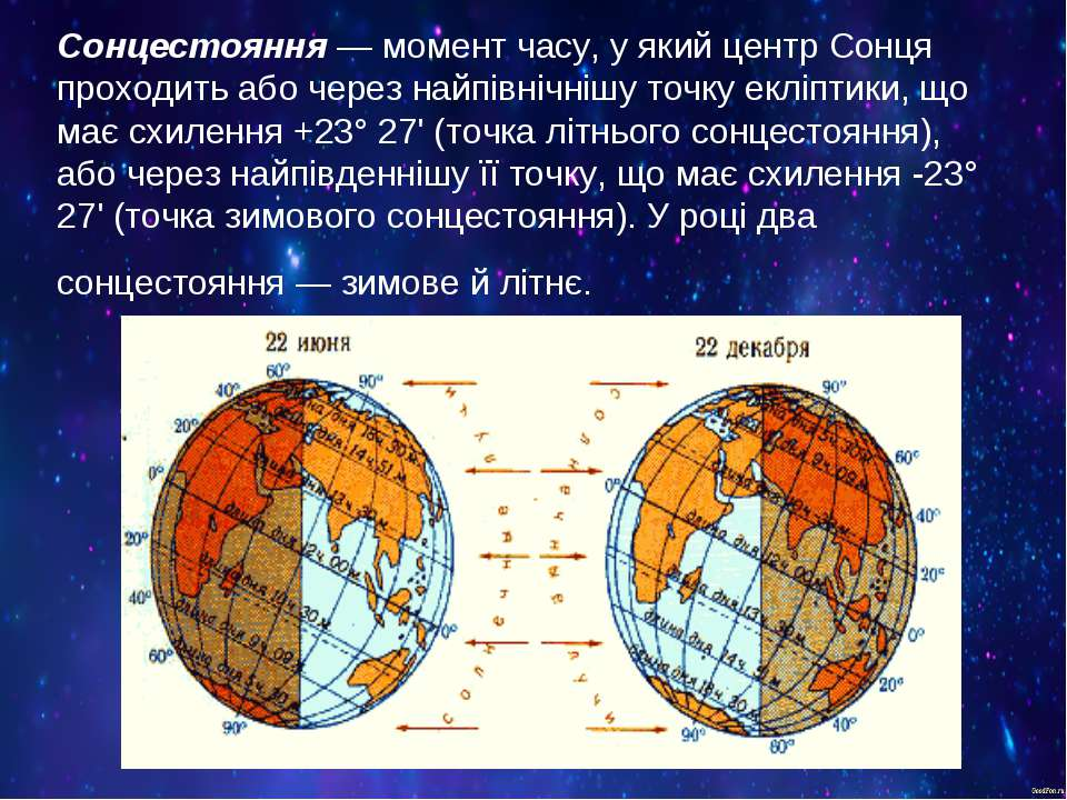 Сонцестояння— момент часу, у який центр Сонця проходить або через найпівнічн...