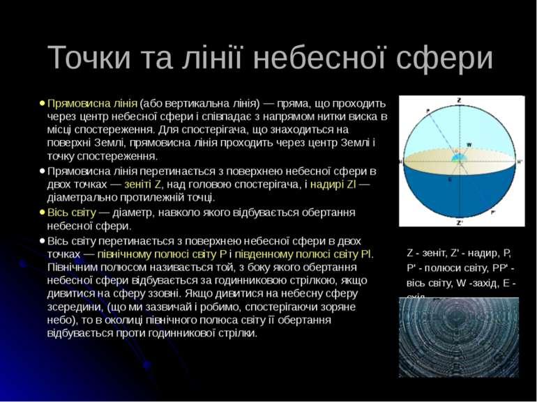 Точки та лінії небесної сфери Прямовисна лінія (або вертикальна лінія) — прям...