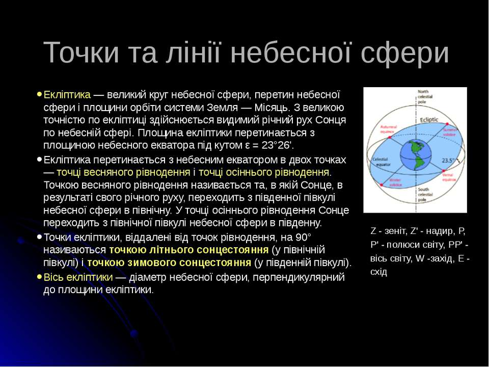 Точки та лінії небесної сфери Екліптика — великий круг небесної сфери, перети...