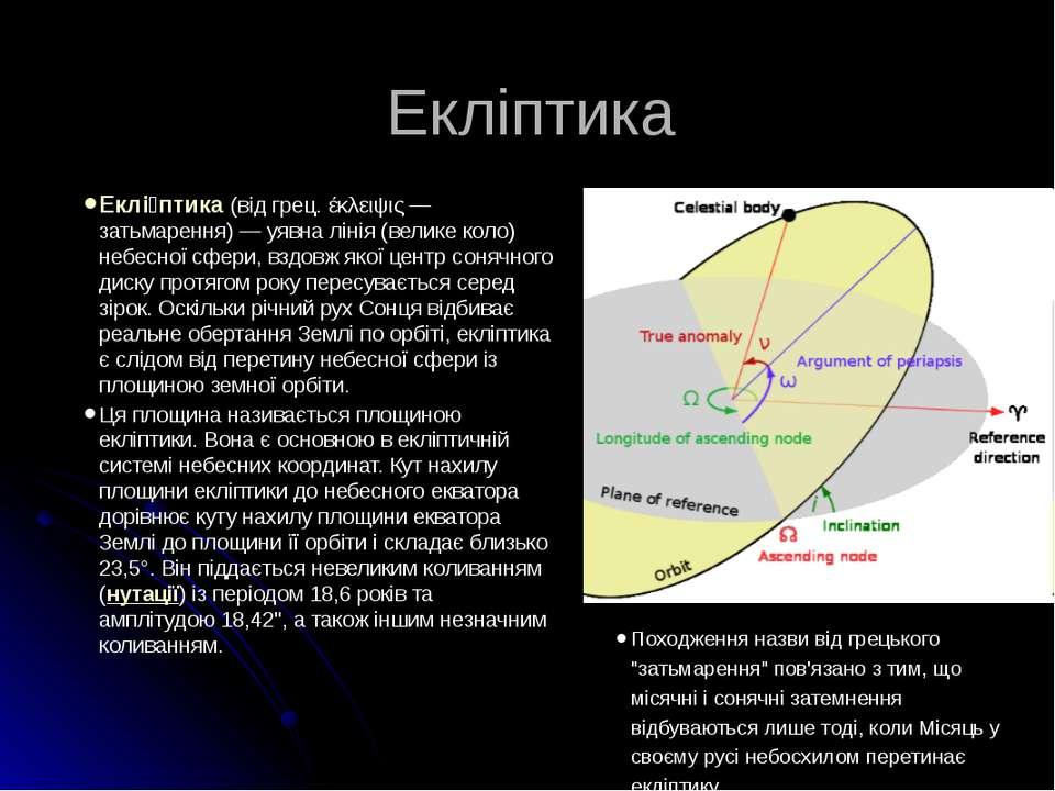 Екліптика Еклі птика (від грец. έκλειψις — затьмарення) — уявна лінія (велике...