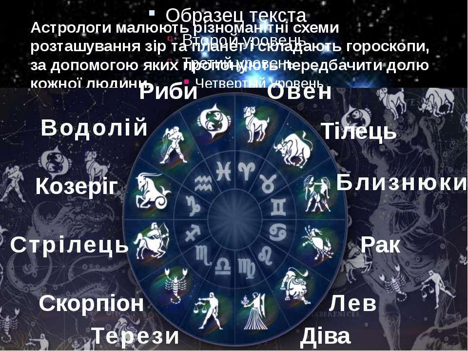 Астрологи малюють різноманітні схеми розташування зір та планет і складають г...