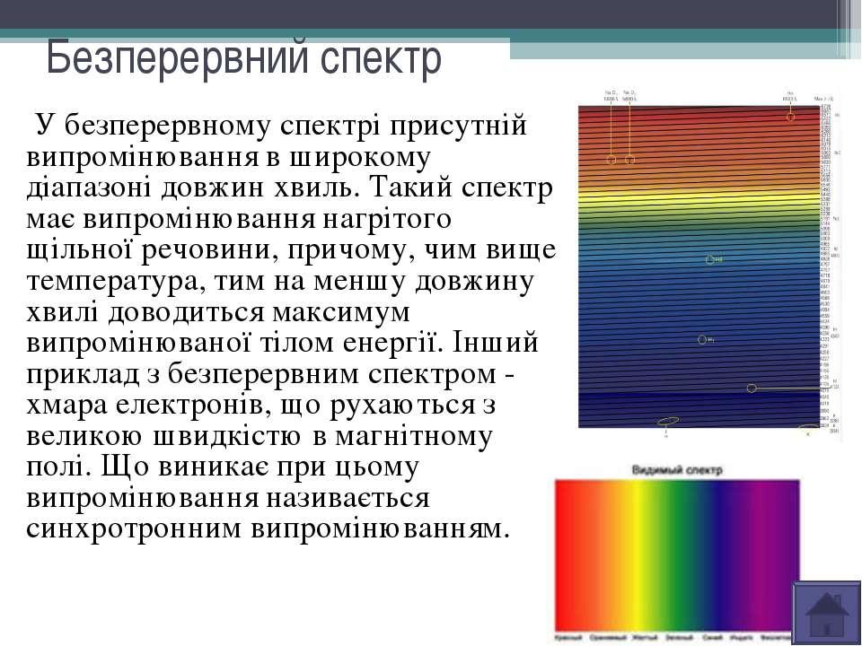 Безперервний спектр У безперервному спектрі присутній випромінювання в широко...