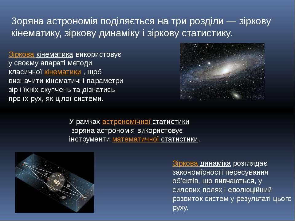 Зоряна астрономія поділяється на три розділи— зіркову кінематику, зіркову ди...