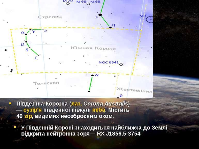 Півде нна Коро на(лат.Corona Australis) —сузір'япівденної півкулінеба. М...