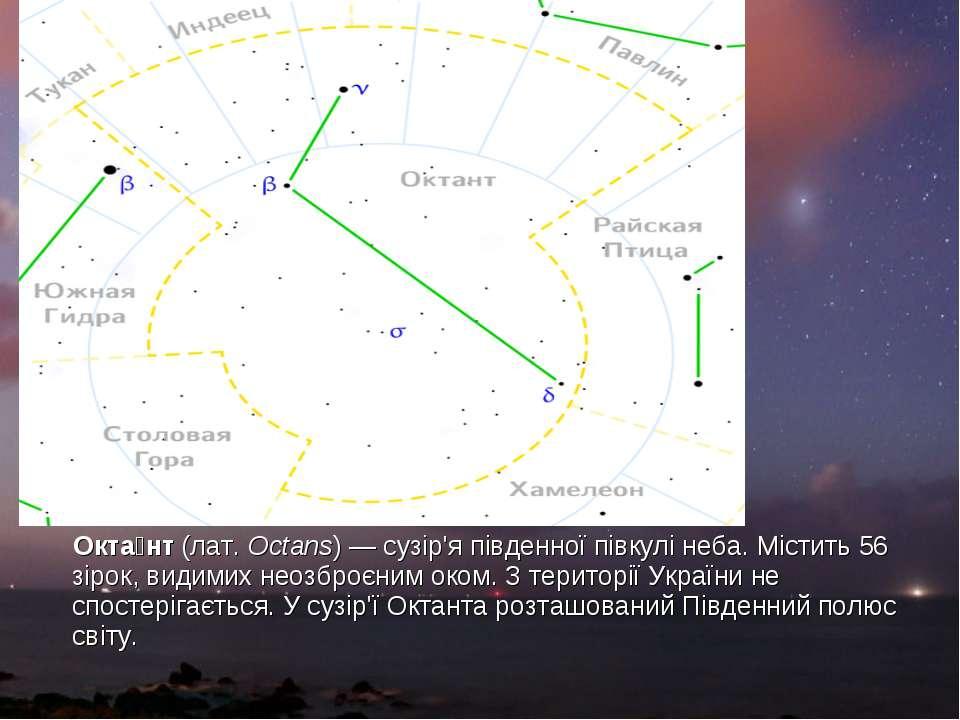 Окта нт(лат.Octans) —сузір'япівденної півкулінеба. Містить 56 зірок, вид...