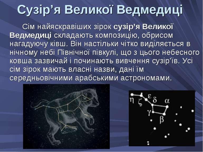 Сузір'я Великої Ведмедиці Сім найяскравіших зірок сузір'я Великої Ведмедиці с...
