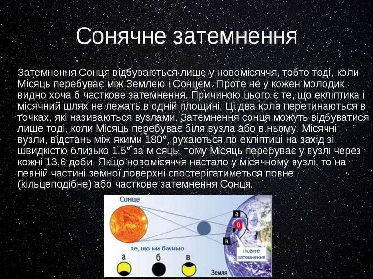 Сонячне затемнення Затемнення Сонця відбуваються лише у новомісяччя, тобто то...