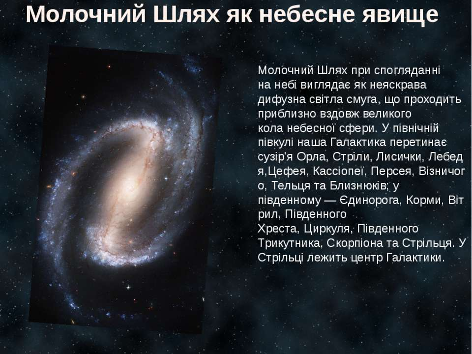 Молочний Шлях як небесне явище Молочний Шлях при спогляданні нанебівиглядає...