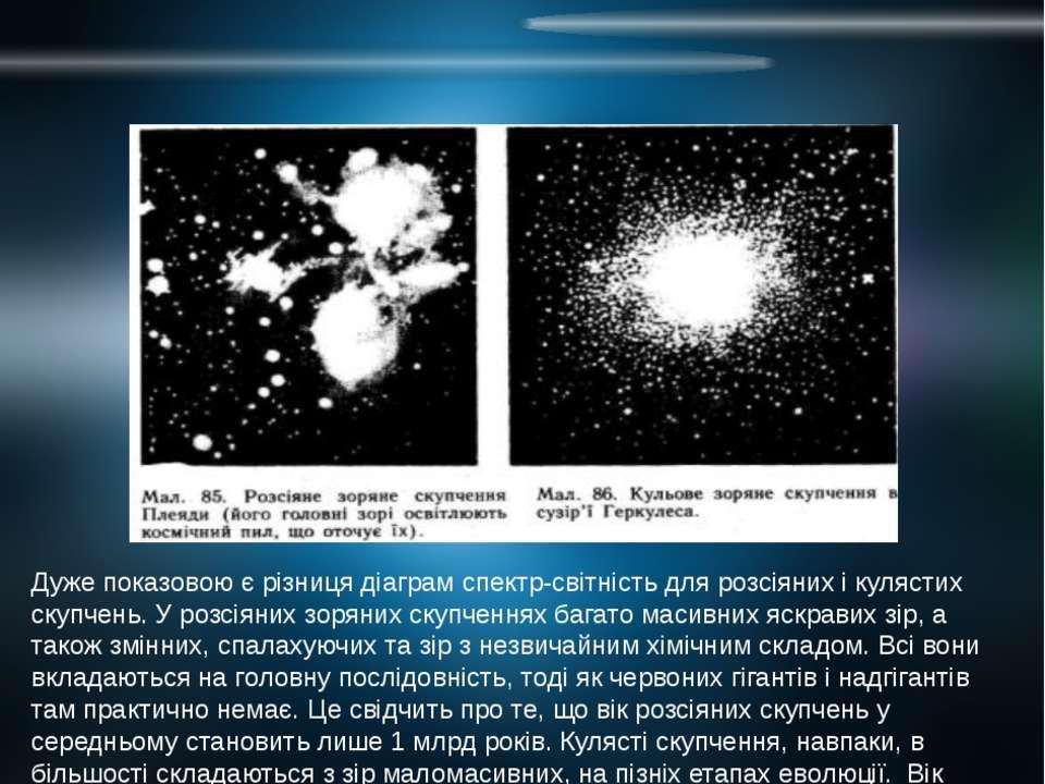 Дуже показовою є різниця діаграм спектр-світність для розсіяних і кулястих ск...