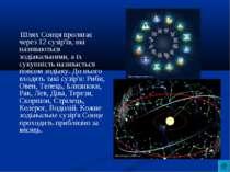 Шлях Сонця пролягає через 12 сузір'їв, які називаються зодіакальними, а їх су...