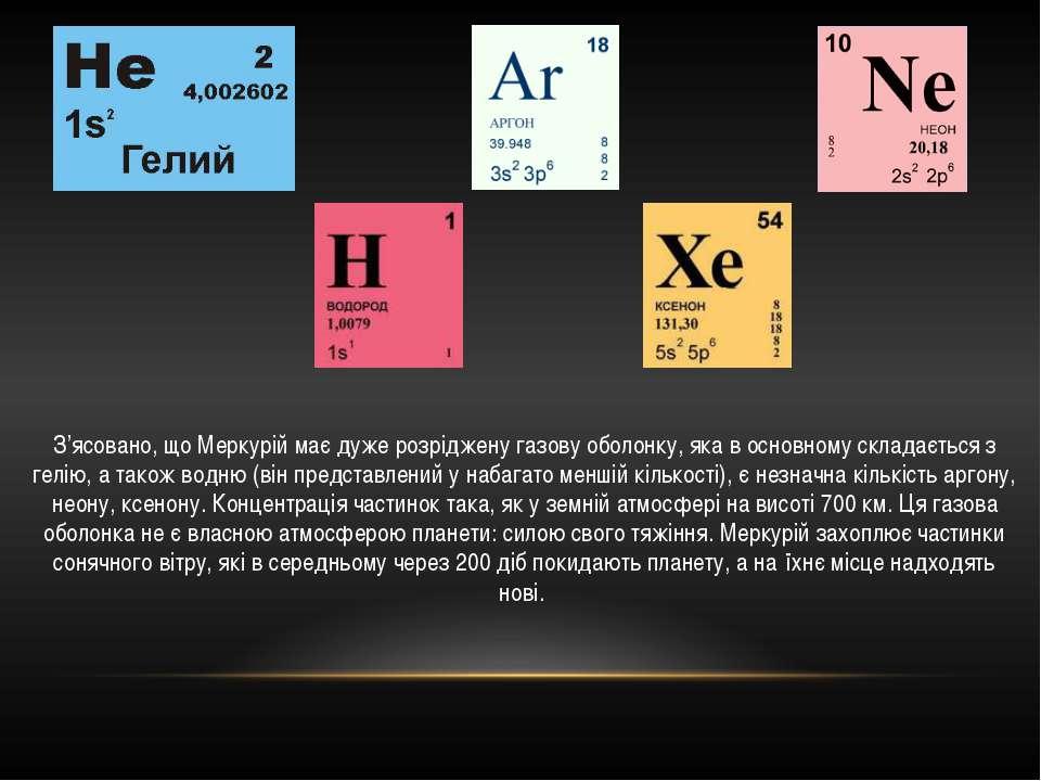 З'ясовано, що Меркурій має дуже розріджену газову оболонку, яка в основному с...