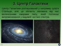 3. Центр Галактики Центр Галактики розташований у напрямку сузір'я Стрільця, ...