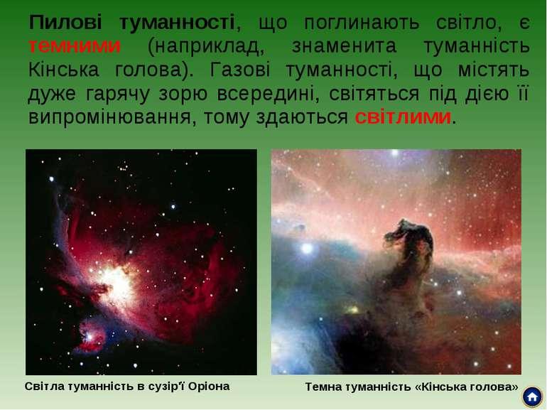 Пилові туманності, що поглинають світло, є темними (наприклад, знаменита тума...