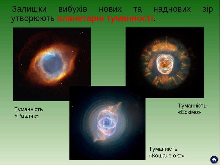 Залишки вибухів нових та наднових зір утворюють планетарні туманності. Туманн...