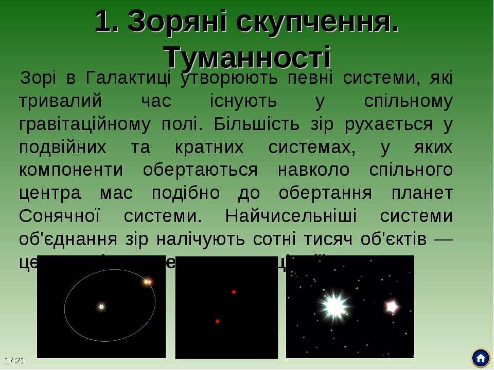 1. Зоряні скупчення. Туманності Зорі в Галактиці утворюють певні системи, які...