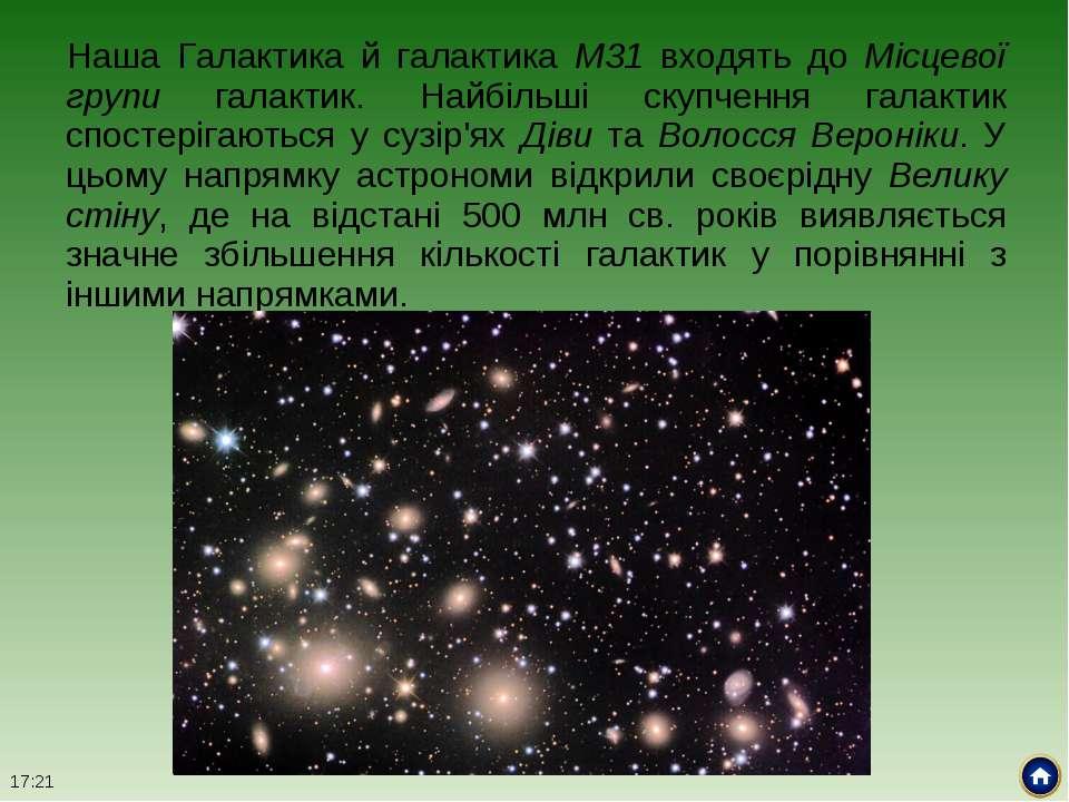 Наша Галактика й галактика М31 входять до Місцевої групи галактик. Найбільші ...