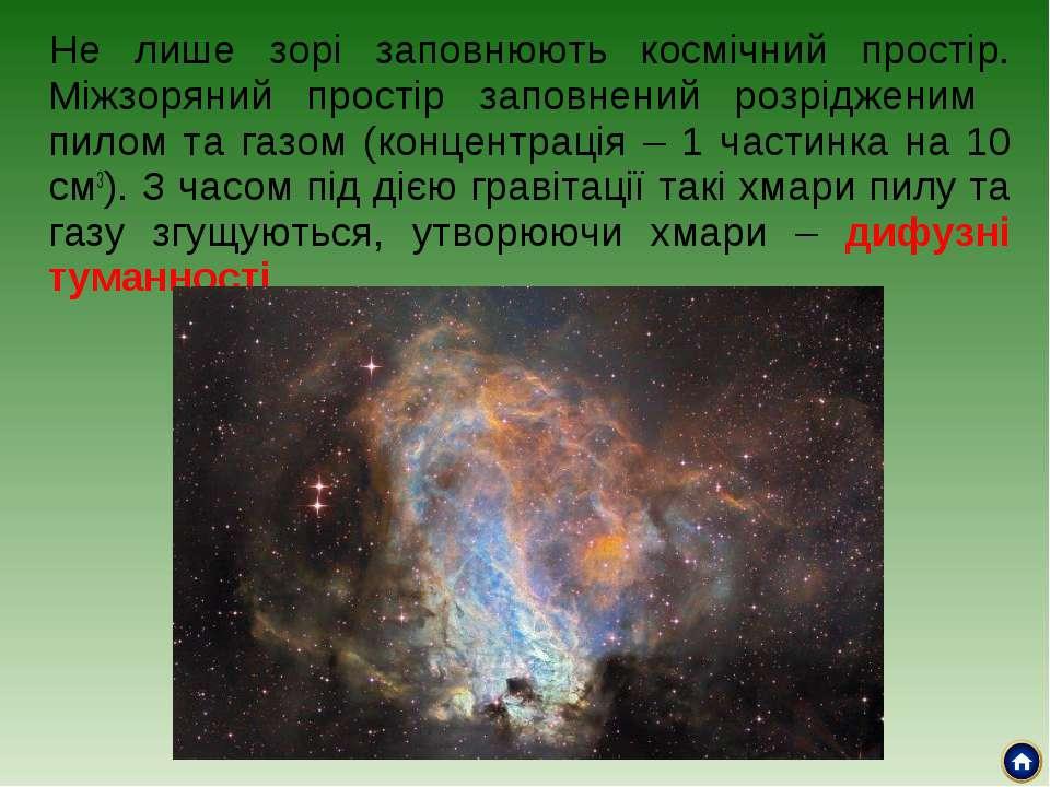 Не лише зорі заповнюють космічний простір. Міжзоряний простір заповнений розр...