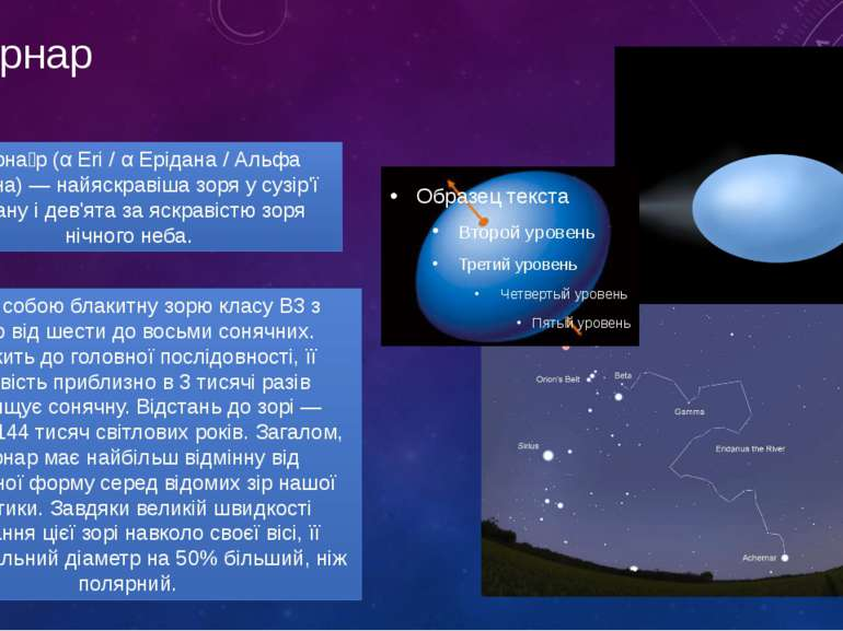 ахернар Ахерна р (α Eri / α Ерідана / Альфа Ерідана) — найяскравіша зоря у су...