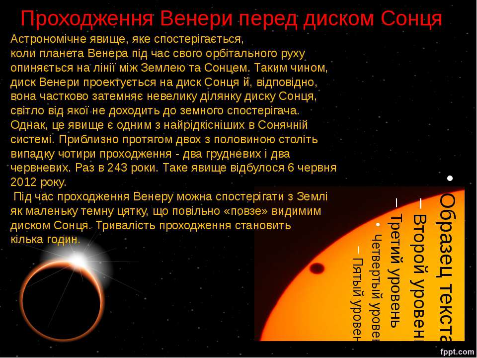 Проходження Венери перед диском Сонця Астрономічне явище, яке спостерігається...