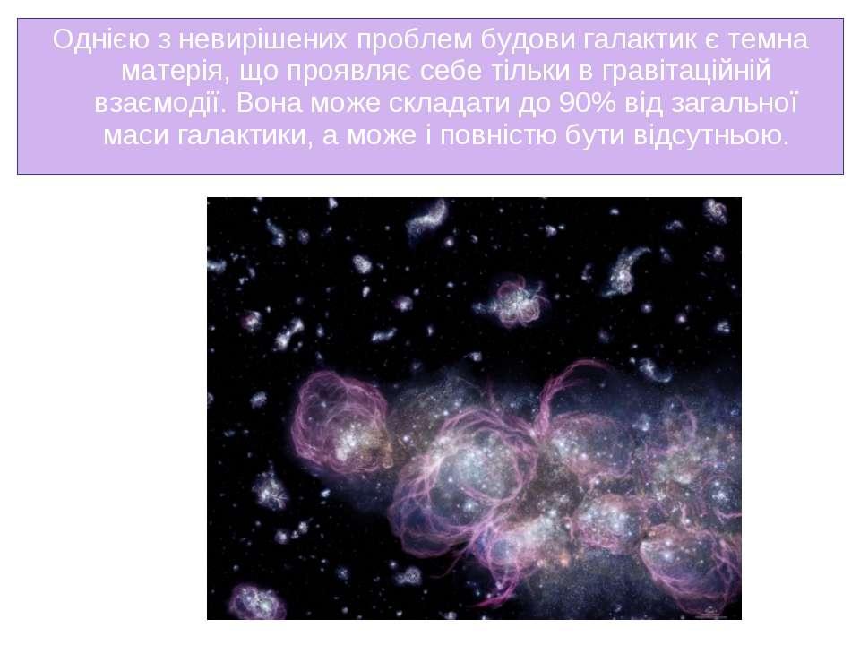Однією з невирішених проблем будови галактик єтемна матерія, що проявляє себ...