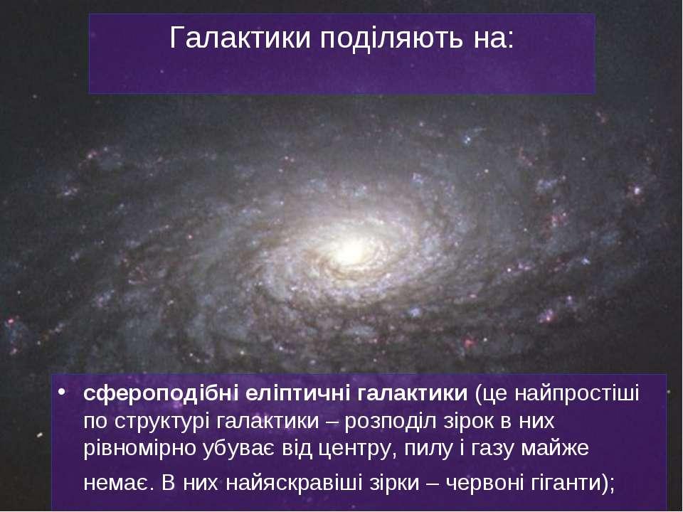 Галактики поділяють на: сфероподібніеліптичні галактики (це найпростіші по с...
