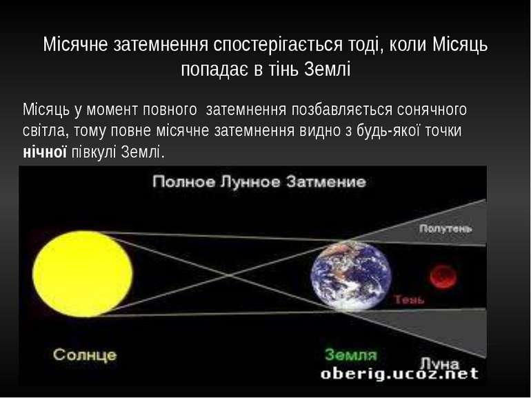 Місячне затемнення спостерігається тоді, коли Місяць попадає в тінь Землі Міс...
