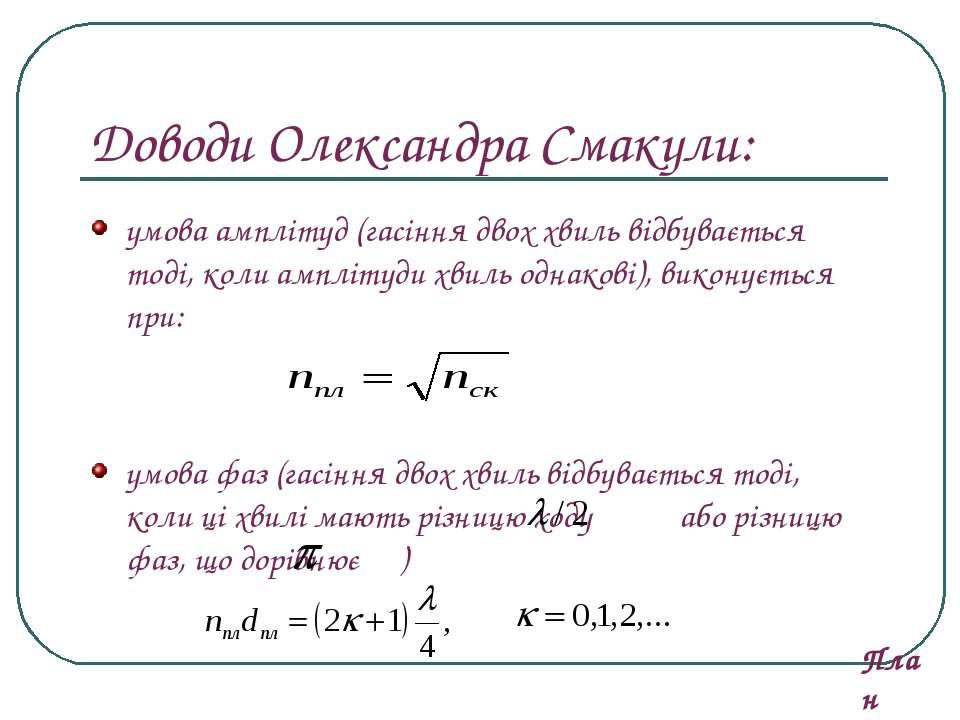 Доводи Олександра Смакули: умова амплітуд (гасіння двох хвиль відбувається то...