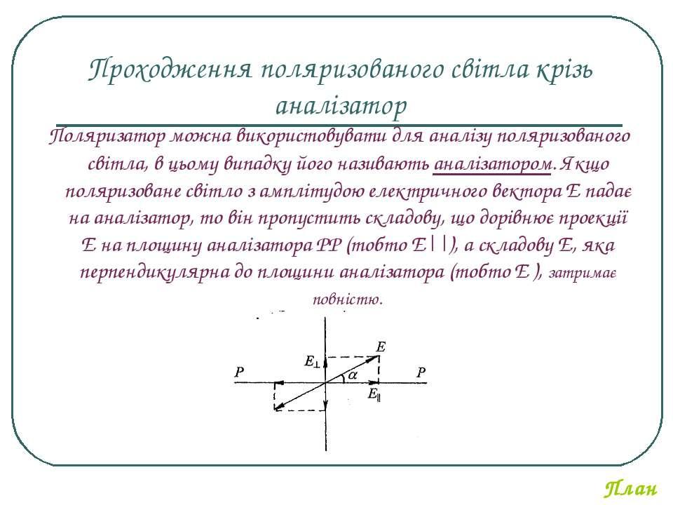 Проходження поляризованого світла крізь аналізатор Поляризатор можна використ...