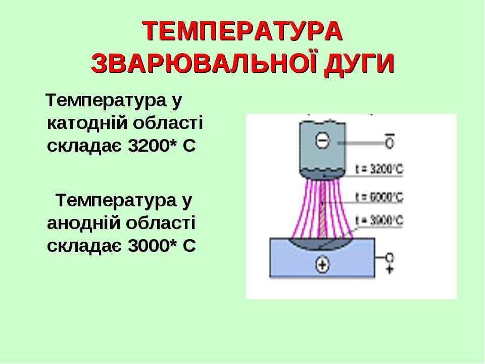 ТЕМПЕРАТУРА ЗВАРЮВАЛЬНОЇ ДУГИ Температура у катодній області складає 3200* С ...