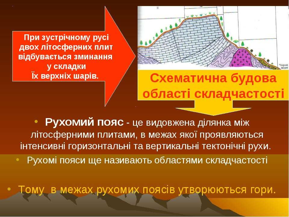 Рухомий пояс - це видовжена ділянка між літосферними плитами, в межах якої пр...