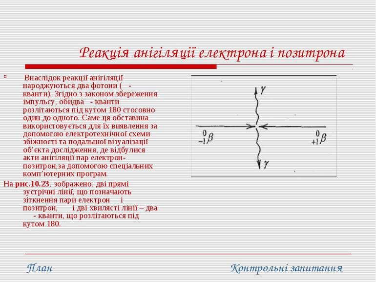 Реакція анігіляції електрона і позитрона Внаслідок реакції анігіляції народжу...
