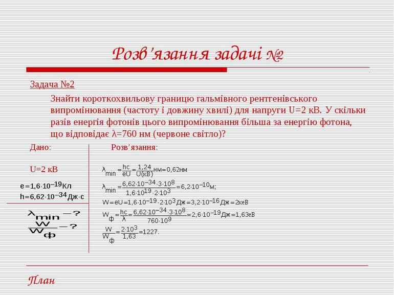Розв'язання задачі №2 Задача №2 Знайти короткохвильову границю гальмівного ре...