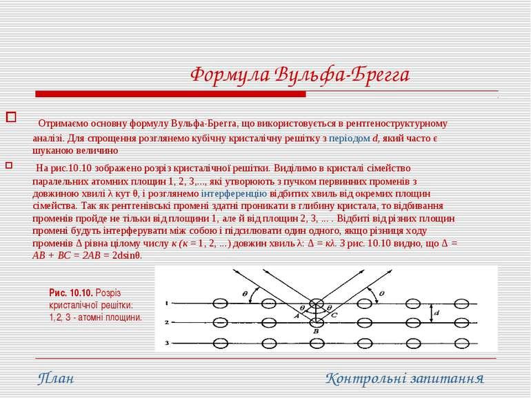 Формула Вульфа-Брегга Отримаємо основну формулу Вульфа-Брегга, що використову...