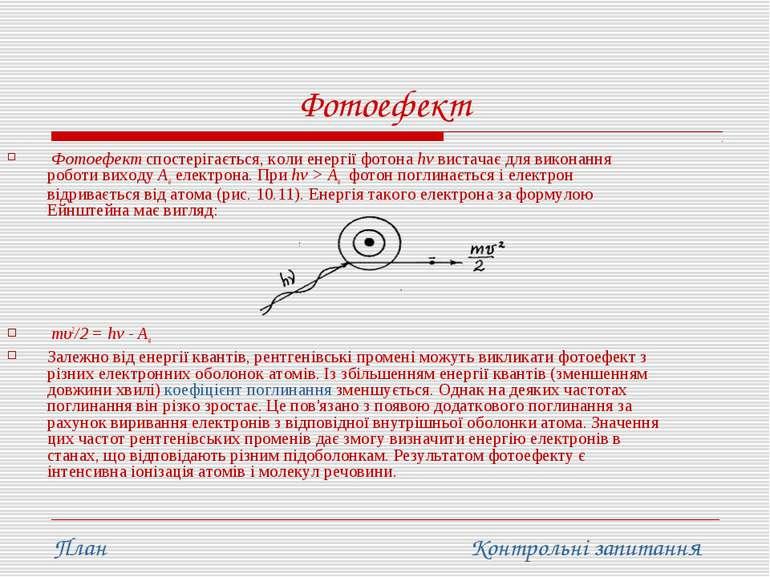 Фотоефект Фотоефект спостерігається, коли енергії фотона hv вистачає для вико...