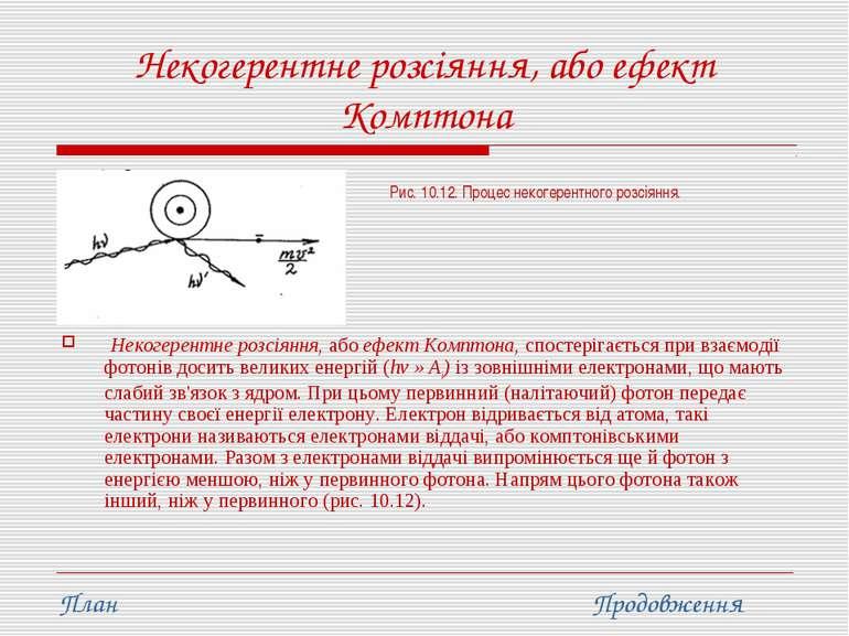 Некогерентне розсіяння, або ефект Комптона Некогерентне розсіяння, або ефект ...