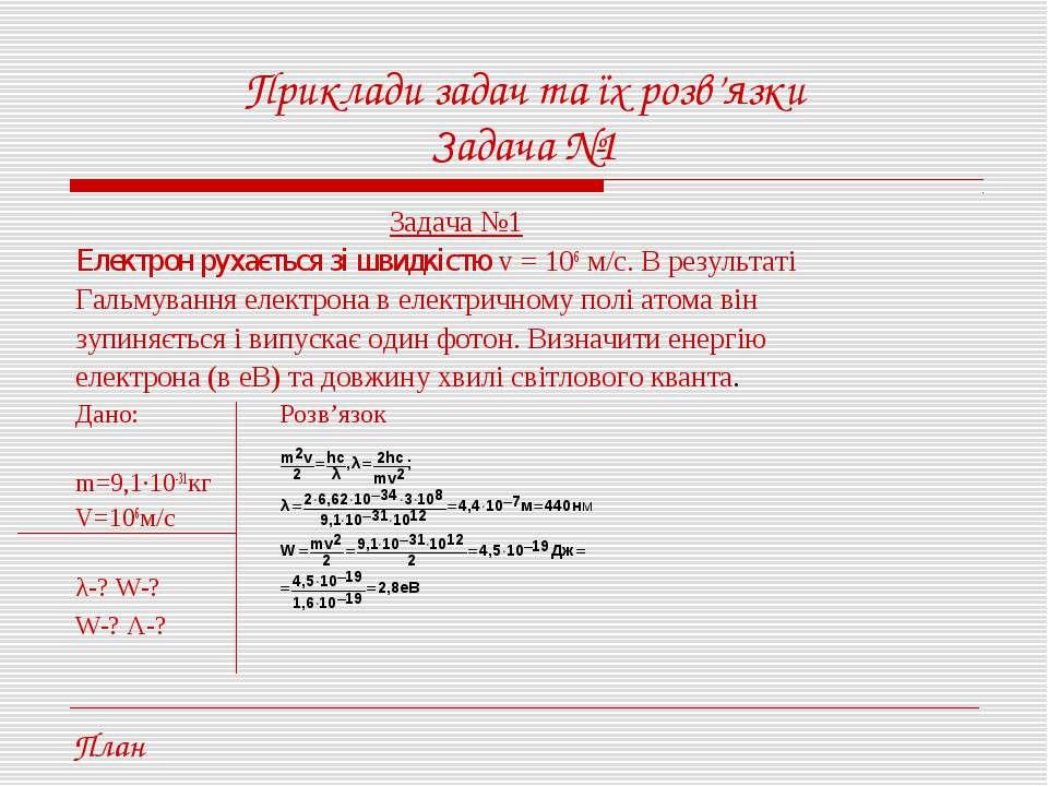 Приклади задач та їх розв'язки Задача №1 Задача №1 Електрон рухається зі швид...