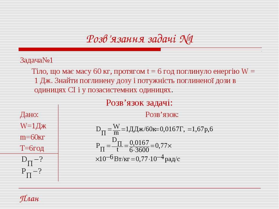 Розв'язання задачі №1 Задача№1 Тіло, що має масу 60 кг, протягом t = 6 год по...