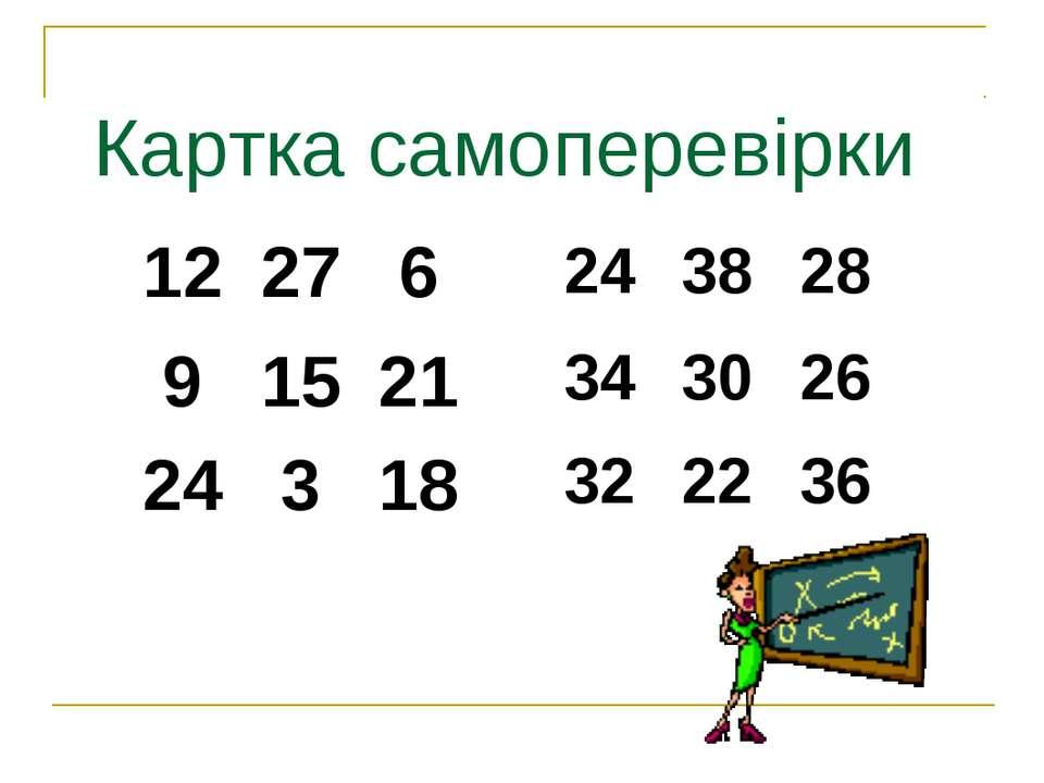 Картка самоперевірки 12 27 6 9 15 21 24 3 18 24 38 28 34 30 26 32 22 36