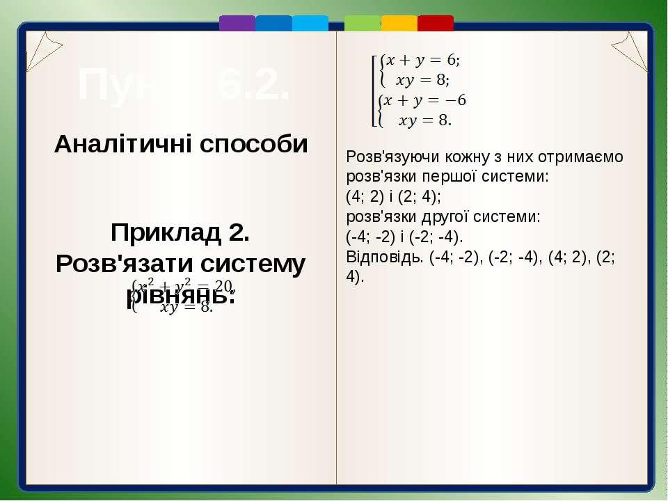 Графічний спосіб Приклад 1. Розв'язати систему рівнянь: Розв'яжемо дану систе...
