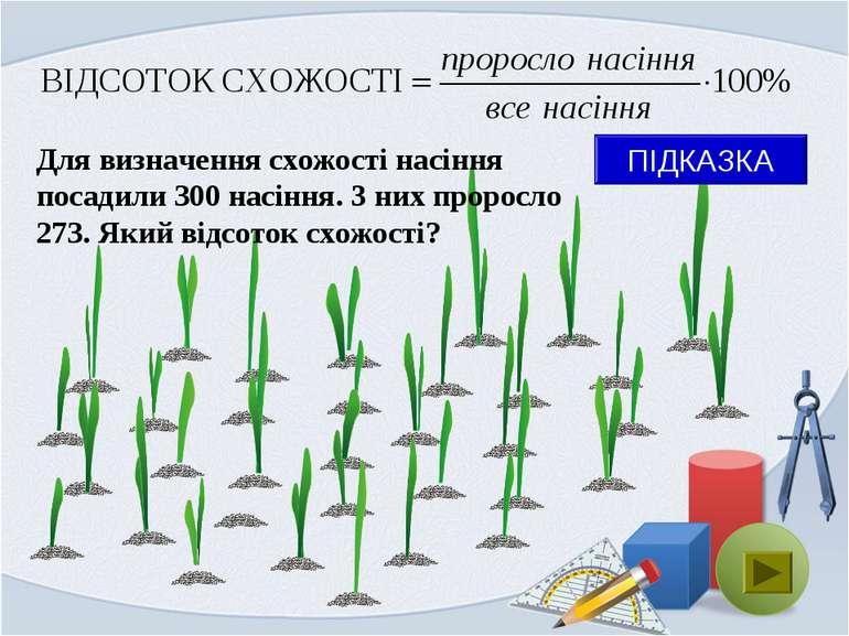 Для визначення схожості насіння посадили 300 насіння. З них проросло 273. Яки...