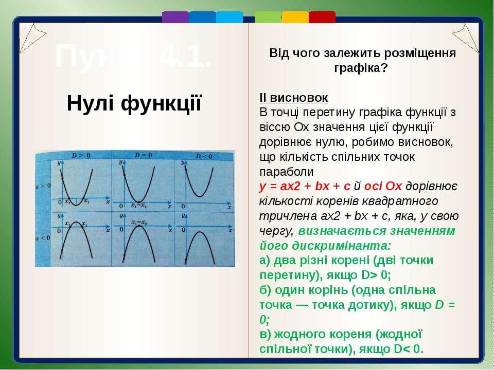 Пункт 4.1. Проміжки знакосталості функції Очевидно, що для а > 0 значення ква...