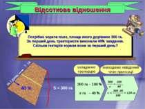 Відсоткове відношення 300 га – 100 % х га – 40 % складаємо пропорцію знаходим...